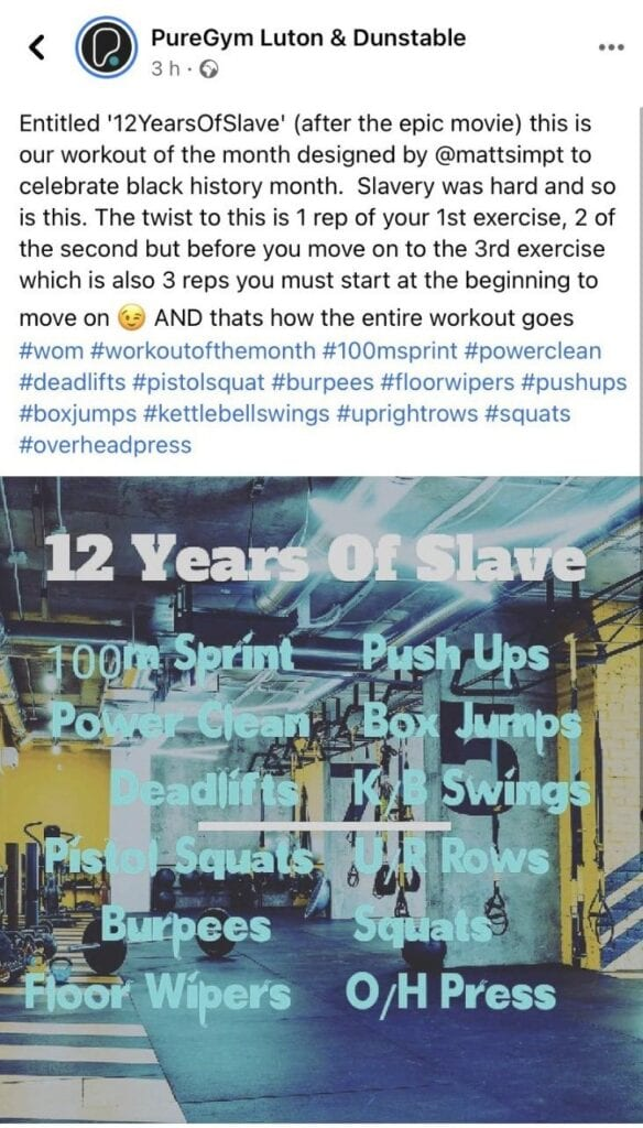 Instagram post from PureGym which went viral and caused a PR issue for the company
